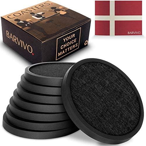 BARVIVO Coasters for Drinks Set of 8 Black Modern Silicone Drink Coasters with Absorbent Removable product image