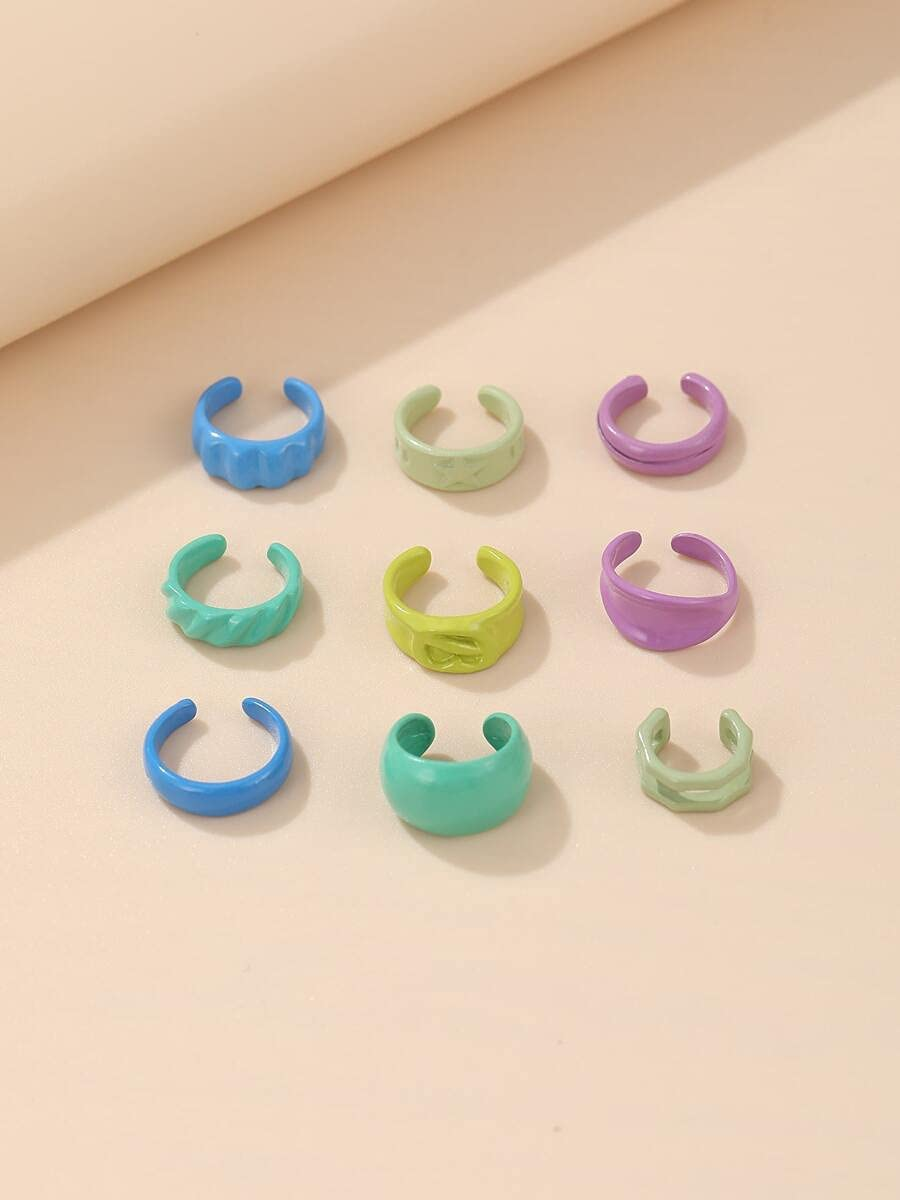 kgjsdf Hoop Earrings 9pcs Minimalist Ear Cuff (Color : Multicolor)