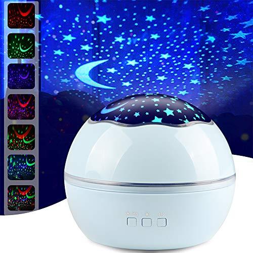 Nuovo Star Light Night Proiettore Lampada, Sunvito 360° Che Girano Romantico Moon Sky Proiettore Stelle Bambini, Regali di Natale, Camera, Matrimonio, Compleanno, Vacanze