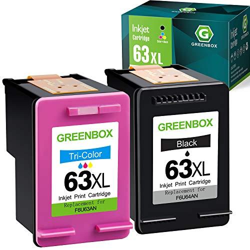 GREENBOX Remanufactured Ink Cartridge Replacement for HP 63 63XL for Envy 4520 4512 4513 4516 OfficeJet 3830 5255 5258 DeskJet 1112 1110 3630 3632 3634 2130 2132 (1 Black 1 Tri-Color)