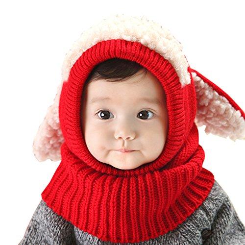 Elonglin Unisex Baby Hüte mit Halstücher Pudelmütze Jungen Mädchen Süß Mütze Mischfarbe Winter Warm Strick Schal Hut Cartoon Hundohren Rot One Size(6-36 Monate)