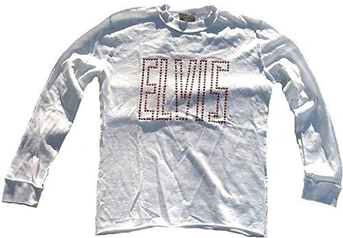 Amplified Kinder Kids Jungen Mädchen Boy Girl Long T-Shirt Weiss White Official Elvis Merchandise Strass Rock n Roll Star Vintage Nähte Aussen VIP Wow 8-9 Years