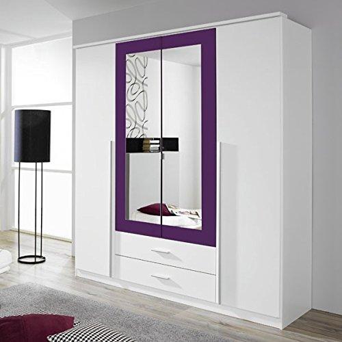 Kleiderschrank weiß/lila 4 Türen B 181 cm brombeer Schrank Drehtürenschrank Wäscheschrank Spiegelschrank Kinderzimmer Jugendzimmer