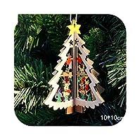 サンタクロース鹿新年天然木クリスマスツリー飾りペンダントハンギングギフトクリスマスの装飾ホームパーティーの装飾2021-Multi-