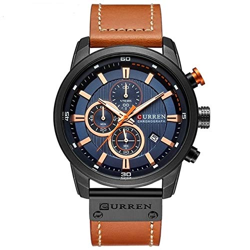 Xyamzhnn Uhr for Männer, Männer Kleid-Uhr, Männer Leder Uhr, Uhr-Geschenk, Herrensportuhren, Modeuhren, Chronograph Uhren Lässige Leder Uhr for Männer mechanische Mens-Quarz-Uhr-Digital-Klassiker