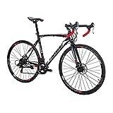 SDXC550 700C Adult Road Bike Steel Frame 54cm Muti Spoke Wheel Dual Disc Brake 21 Speed Gear System Men Road Bicycle