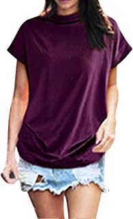 TUDUZ Blouse Women's Blouses Elegant Turtleneck Short Sleeve Casual 6XL Purple