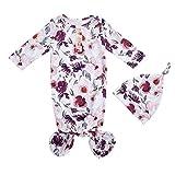 JEG Neugeborenes Baby Unisex verknotetes Schlafkleid Regenbogen Langarm Nachthemd und Hut Set Cute Coming Home Outfits Set Gr. 50, Floral-Lila