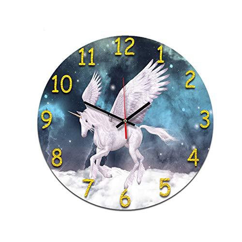LUOYLYM Einhorn Wohnzimmer Digitale Retro Wanduhr Acryl Stumm Hause Kreative Mode Uhr Randlose Wecker P190430-171 28CM