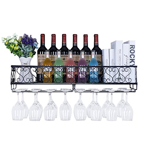 AcornFort W-612 Metal Black Wall Hanging Mounted Wine Champagne Glass Goblets Stemware Rack Holder, 80 x 20 cm Hold Up to 18 Bottles Wine and 18 Cups Glasses