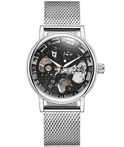 SEWOR Reloj para Hombre Hueca Tallado de Esqueleto mecánico Mano Viento Reloj de Pulsera con Banda de Malla (Negro plata2)