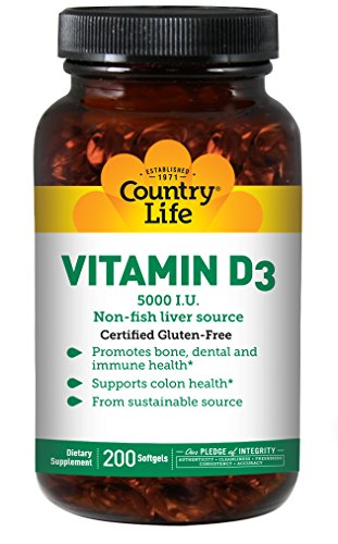 Country Life Vitamin D3 5,000I.U. 125mcg Non-Fish Liver Source - Support for Bone, Dental & Colon Health - Healthy Immune System Support Supplement - Gluten-Free, No Preservatives - 200 Softgels