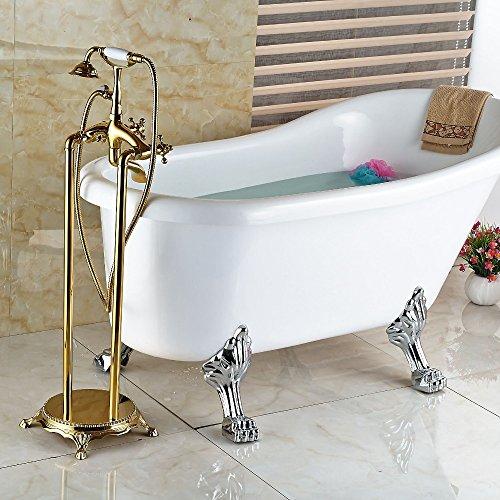 Galvanik Retro Wasserhahn Modern Floor Mount Badezimmer freistehende Badewanne Armatur Freistehend Messing Golden polnischen Keramik Handbrause, dunkles Khaki