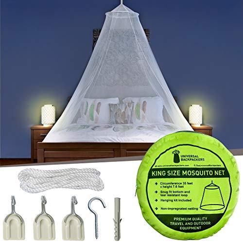 Muggennet inclusief kleefhaken voor op reis & decoratie – 2 openingen of volledig gesloten muggennet voor tweepersoonsbed & eenpersoonsbed – hoogwaardige baldakijn & lichte materialen.