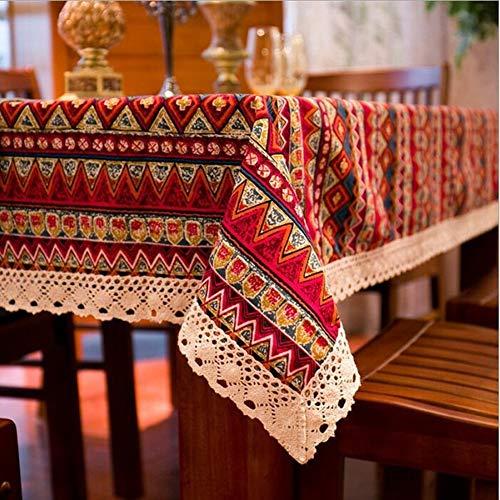 RONGER Böhmische Qualität Tischdecke Bunte Weiche Baumwollstreifen Verschiedene Größen Spitze Home Küche Bankett Tischdecke 1pc (A,140x220cm)