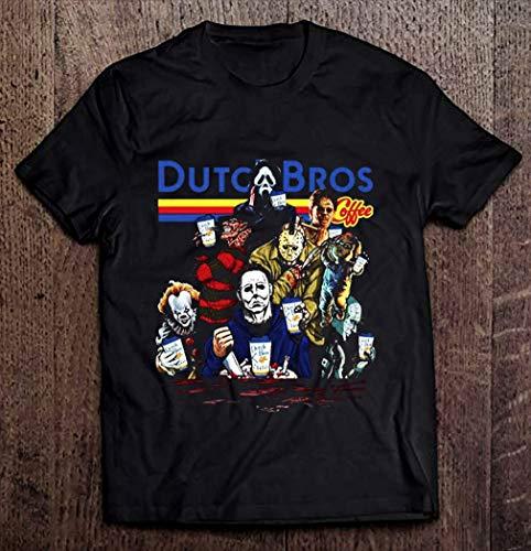 Mens Horror movie characters dutch bros coffee halloween shirt Shirt, Hoodie, Sweatshirt For Mens Womens Ladies Kids