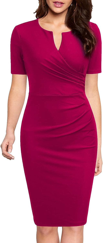 WOOSEA Women's Business Retro Ruffles Short Sleeve Slim Cocktail Pencil Dress