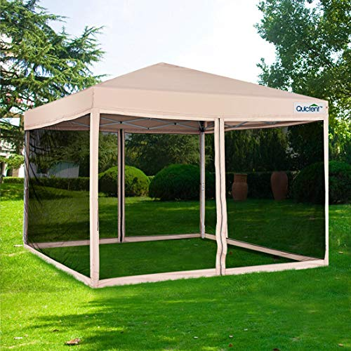 Quictent Upgraded Ez Pop up Canopy with Netting Screen House Tent Mesh Side Wall Roller Bag-3 Colors...