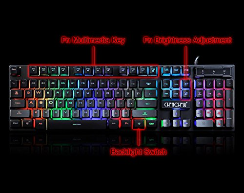 Gaming LED Wired Keyboard and Mouse Combo with Emitting Character 4800DPI 2 Side Button USB Mouse Rainbow Backlit Mechanical Feeling Compatible with PC Raspberry Pi Mac Xbox one ps4 with Mousepad