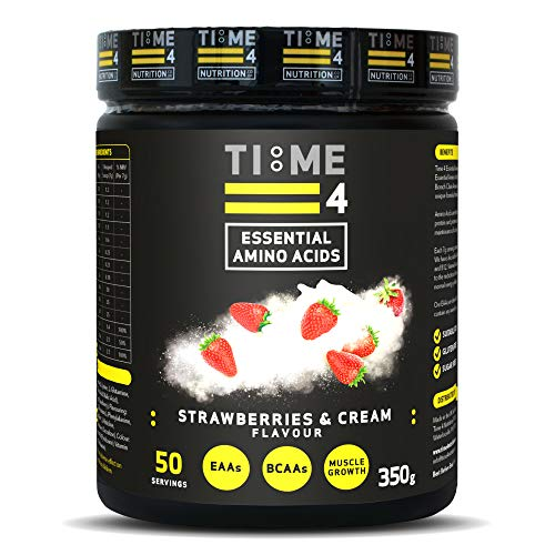 Time 4 Essential Amino Acids 350g 50 Servings - Plant Based EAA Formula + Branch Chain Amino Acids, Glutamine, AstraGin, Vitamin D, Vitamin B6 & Vitamin B12 (Strawberries & Cream)