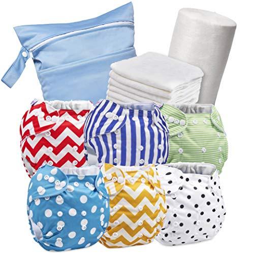 Set aus 6 wiederverwendbaren Windeln - Waschbare Stoffwindeln + 6 Windeleinlagen aus Bambus + 1 Rolle mit 100 abwaschbaren Windeltüchern + Feuchttasche - Mehrwegwindeln - 100% Oköverträgliche Windeln