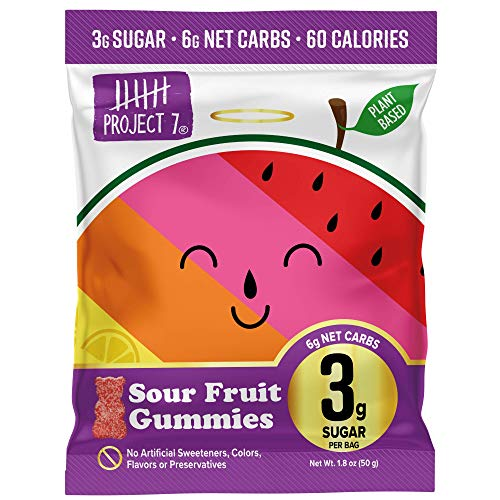 Project 7 Low Sugar Sour Fruit Gummy Bears – Keto-Friendly & Vegan Gummies With 3g Sugar, 6g Net Carbs & Low Calorie (60) – No Sugar Alcohols, No Artificial Sweeteners or Colors, Pack of 8 (1.8oz)
