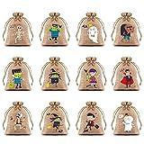 KIMOBER 36pcs Halloween Linen Burlap Gift Bags With Double Jute Drawstrings,Coarse Fabric Sack For...