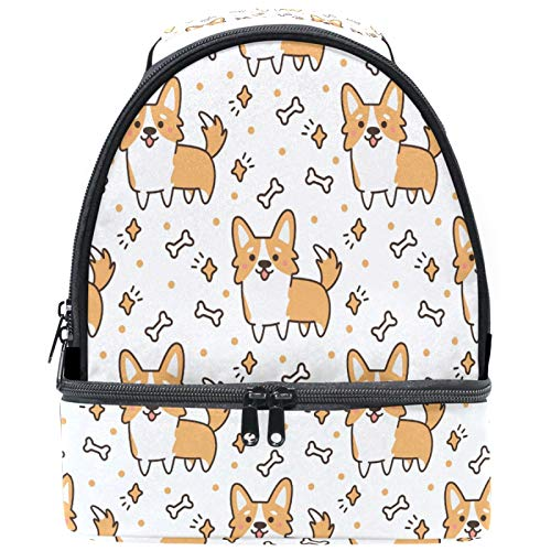 Naanle Cute Corgi Dog Animal Double Decker Insulated Lunch Box Bag Waterproof Leakproof Cooler Thermal Tote Bag Large for Men Women Youth