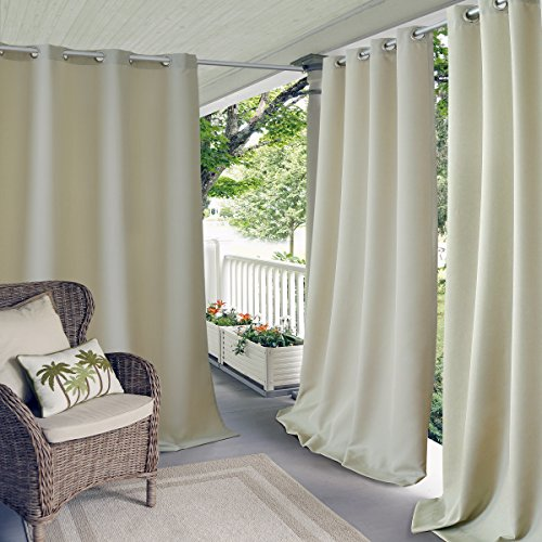 Elrene Home Fashions Connor Indoor/Outdoor Solid UV Protectant Grommet Window Curtain Panel for Patio, Pergola, Porch, Deck, Lanai, and Cabana, 52u0022 x 108u0022 (1, Taupe