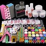 WuBeFine 42 in 1 Acrylic Nail Kit,Nail Acrylic Powder and Liquid Set,Brush Glitter File French Tips Nail Art Decoration Tools Professional Manicure Set