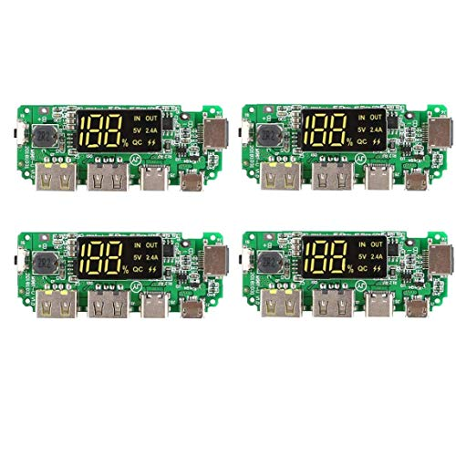 Mostra litio caricabatteria Consiglio 5V 2.4A Banca mobile di potere del modulo digitale di ricarica Modulo con display Boost Modulo 4 PCS