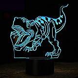 hqhqhq Dinosaurio 3D Lámpara LED Luz de Noche Novedad Ilusión Lámpara de Noche LED 16 Colores USB Niños Luces para Dormir Fiesta de cumpleaños Regalo con Mando a Distancia -1314