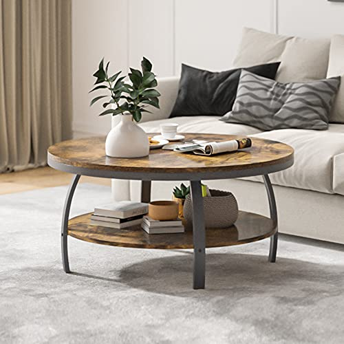 """POVISON Round Coffee Table for Living Room with Storage, 35.4"""" Industrial Wood 2-Tier Sofa Table with Open Shelf, Metal Frame, Rustic Brown"""