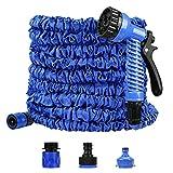 Redmoo 22.8M / 75FT Flexible Garden Hose Extendable Garden Hose with 7 Multi-Function Spray Heads, Heavy Duty Fabric, Flexible Garden Hose (Blue)