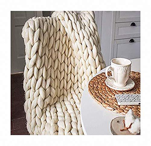 Merino Wolle Garn Arm Stricken werfen Super große klobige Stricken Decke Tagesdecke Überwurf Decke Decke Handgefertigtes Chunky fürs Sofa- oder Tagesdecke,Apricot,180X200CM