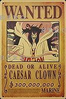 海賊アニメCAESAR CLOWN さびた錫のサインヴィンテージアルミニウムプラークアートポスター装飾面白い鉄の絵の個性安全標識警告バースクールカフェガレージの寝室に適しています