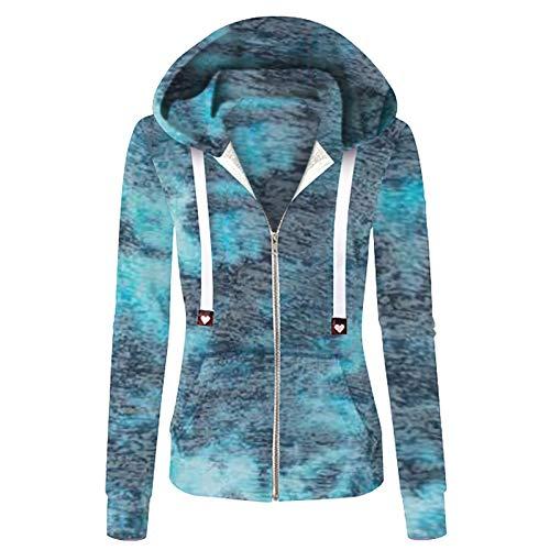 YINZI Women's Rainbow Tie-dye Print Zipper Outwear Casual Long Sleeve Pocket Pocket Drawstring Hooded Sweatshirt Jacket(Blue,4X-Large)