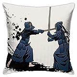 Yanting Kendo Sword Fight - Funda de almohada para sofá o cojín