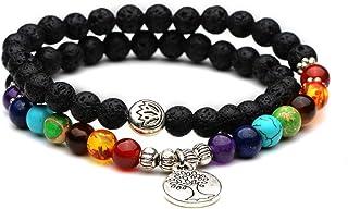 YAZILIND 7 Chakra Reiki curación Natural de la oración de Piedras Preciosas con Cuentas Yoga Equilibrio Estiramiento Encan...