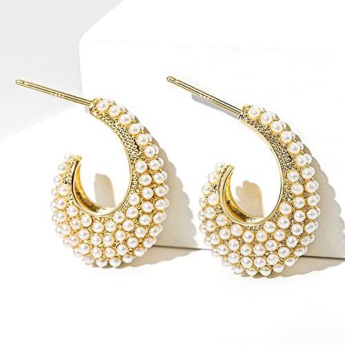 AZPINGPAN Retro Light Luxury Fashion Shell Beads Pendientes De Mujer 丨 Hipoalergénico 925 Aguja De Plata Pendientes De Botón De Oro Día De La Madre Joyas/Caja De Regalo Embalaje