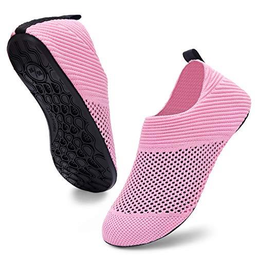 ANLUKE Barefoot Quick-Dry Water Sports Shoes Aqua Socks for Swim Beach Pool Surf Yoga for Women Men (40/41, KPink)