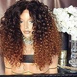 Dégradé Couleur Beauté court Kinky Afro bouclés perruques perruque de coiffure afro-américaine femmes perruque naturelle de sexy perruque populaire perruque synthétique Brown perruque Ombre for les fe