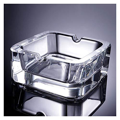 WPBOY Cenicero de cristal transparente cenicero para cigarros portátil geométrico de mesa para interiores y exteriores, cenicero de moda (tamaño pequeño: pequeño)