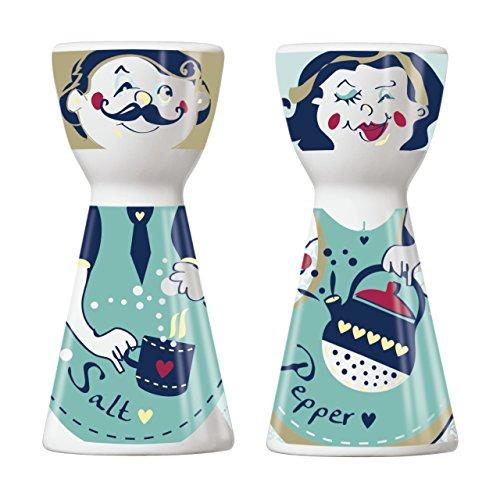 Ritzenhoff Mr. Salt & Mrs. Pepper Salzstreuer und Pfefferstreuer, Porzellan, Mehrfarbig, 3.6 x 3.6 x 7.5 cm