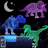 Dinosaur Night Light for Kids, 3D Illusion Lamp 3-Pattern & 16 Colors Changing LED Dino Nightlight with Smart Touch & Remote Control, Dinosaur Gifts for Boys Girls Age 4 5 6+ Year Old