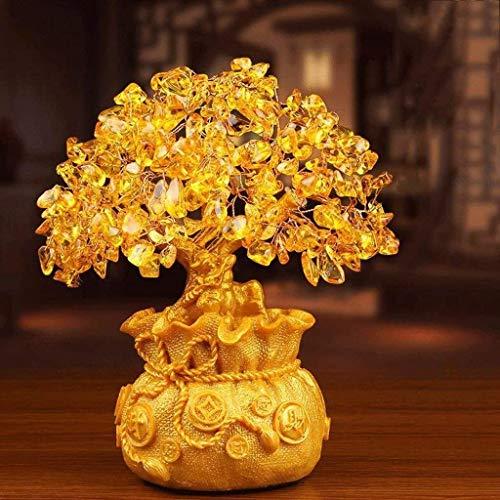 Zfggd Escultura Adornos Lucky Choi hogar de la resina de la decoración de la sala gabinete del vino Lucky árbol Pequeña Casa Creativa de plata del árbol del arte (Size : 18 * 38cm)