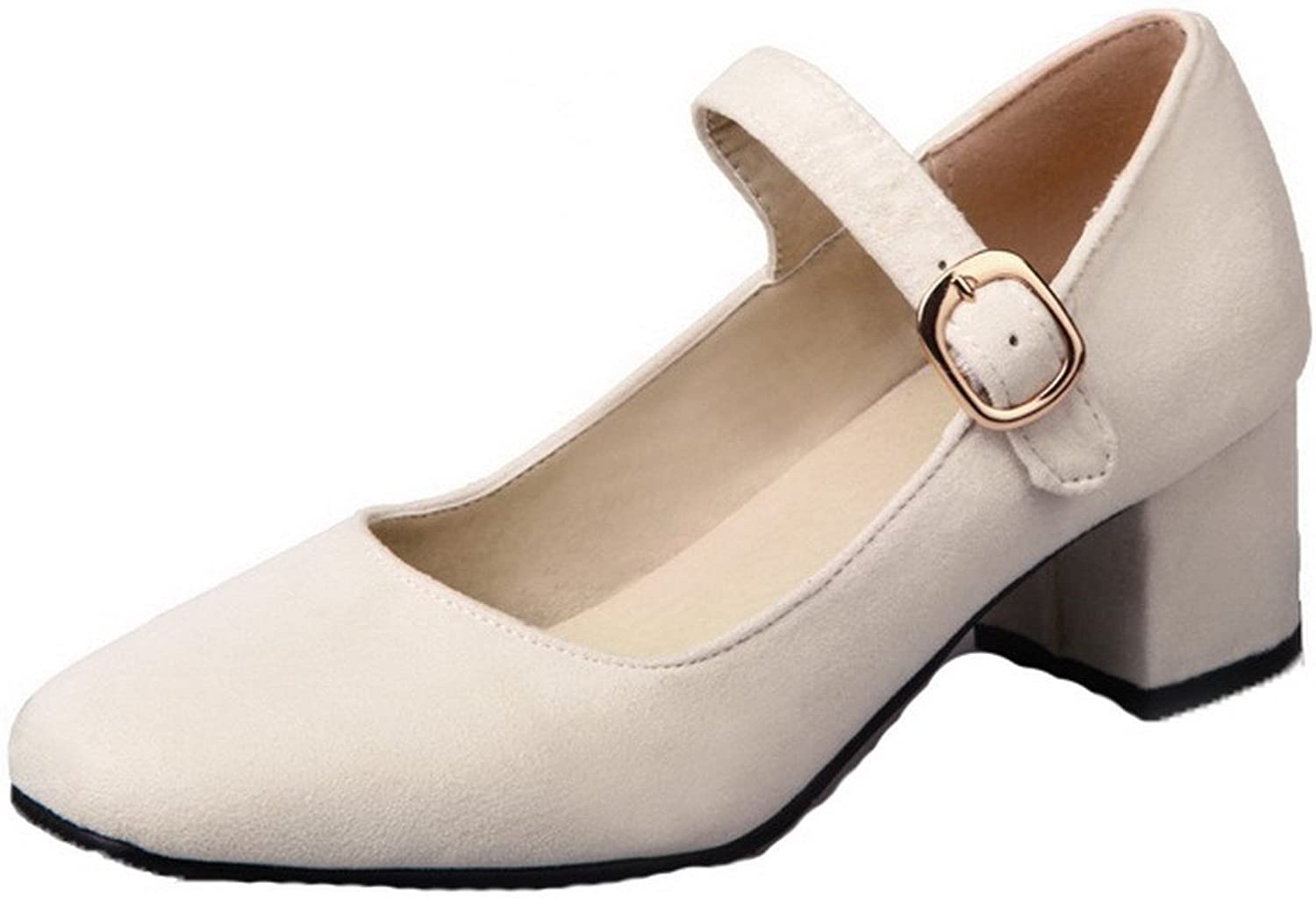 WeenFashion Women's Solid Frosted Kitten-Heels Buckle Square-Toe Pumps-shoes