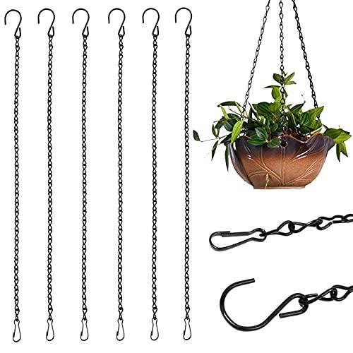 Atuful Blumenampel Ketten Blumentopfkette Edelstahl Haken Metallkette für Hängepflanztopf Blumenampel Laternen Windlicht (6 Stück 50cm)