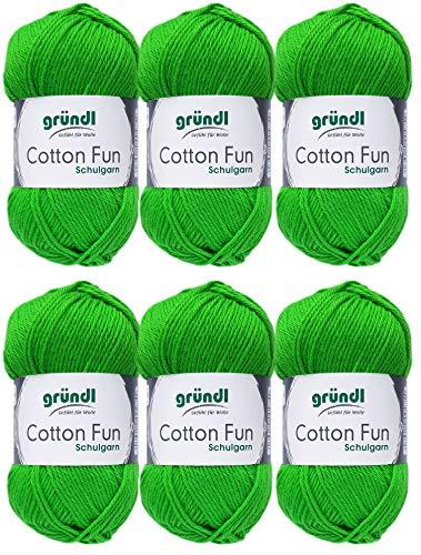 Gründl Cotton Fun Wolle Set 6x 50 Gramm Grün 12 aus 100% Baumwolle