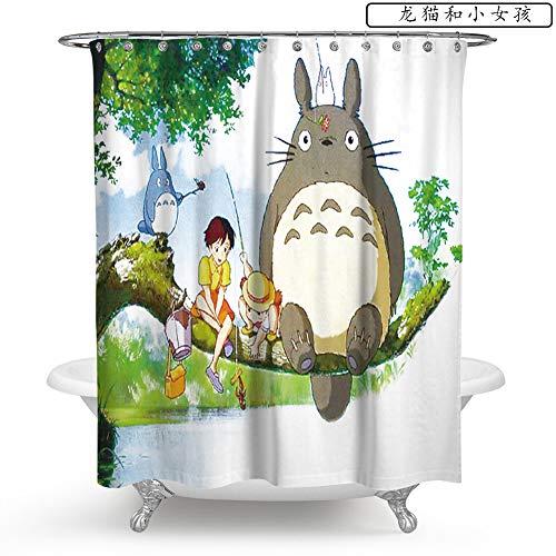 NIEYA Duschvorhang für Badezimmer Badewanne,Hochwertige Qualität Duschvorhänge,100prozent Polyester,Wasserdicht,Schimmel-Beweis,Duschvorhangringe Totoro,180X180cm